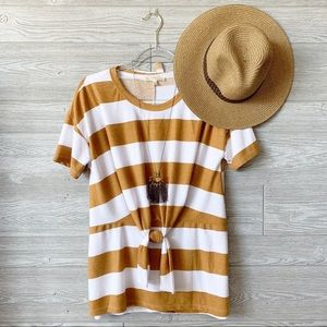 Marigold Striped Tie Front Tunic